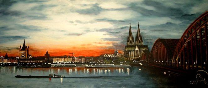 Abendstimmung, Stadt, Brücke, Wolken, Fluss, Köln