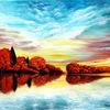 Herbst am see, Herbstfärbung, Rotes laub, Oilpainting landschaft