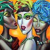 Groß, Ölmalerei, Afrikanische schönheiten, Afrika