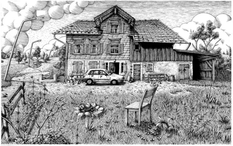 Zeichnung, Buch, Landschaft, Haus, Zeichnungen