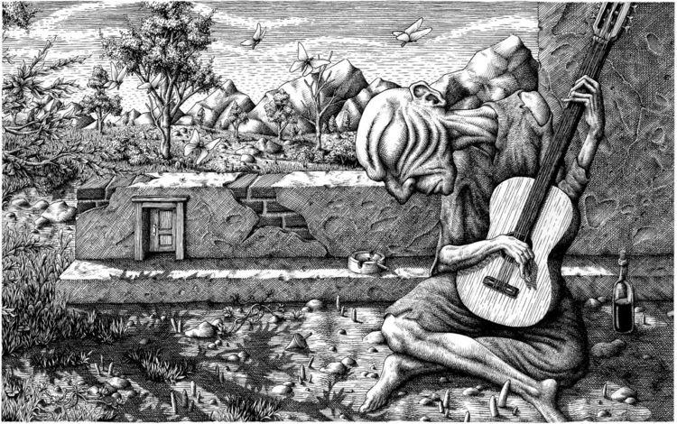 Buch, Zeichnung, Landschaft, Tuschmalerei, Zeichnungen