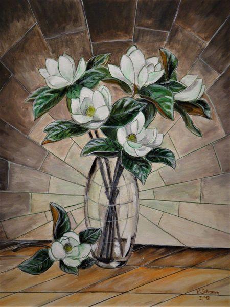 Blumen, Kamelien, Weiß, Malerei