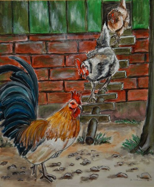 Bauernhof, Tiere, Huhn, Hahn, Malerei