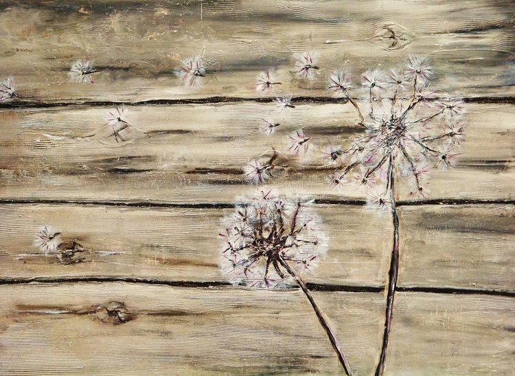 Verwittert, Pusteblumen, Bretterwand, Alt, Malerei