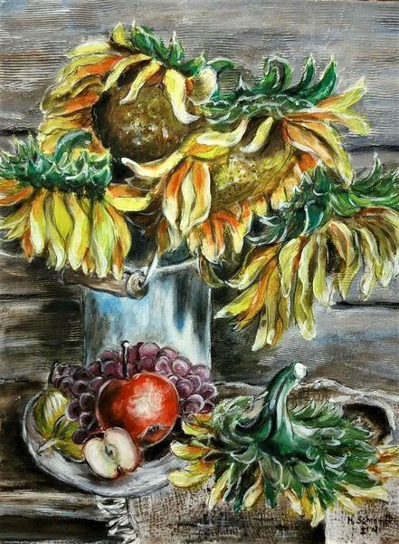 Sommer, Sonnenblumen, Gelb, Malerei