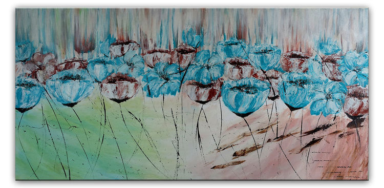 Praxis, Malerei, Acrylmalerei, Blau, Wohnzimmer, Blüte