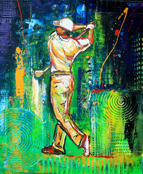 Malerei, Gemälde, Wohnzimmer, Golfspiel, Golf, Dekoration