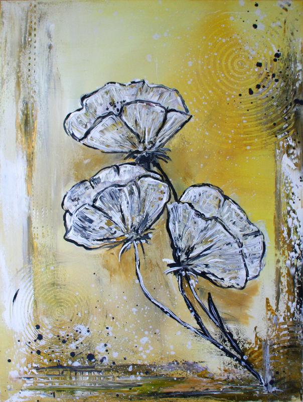 mohnblumen 2 blumenbild blumen malerei bild gem lde flower modern painting mohnblumen. Black Bedroom Furniture Sets. Home Design Ideas