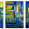 Acrylmalerei, Blau gelb grün, Modernes wandbild, Abstrakte malerei