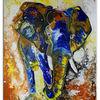 Bunt, Elefant, Abstrakt, Gelb