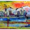 Abstrakt gemalt3, Blau, München skyline, Grün
