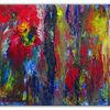 Acrylmalerei, Rot, Abstrakt, Fluid painting
