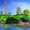 Acrylmalerei, Stadt malerei, Gemälde, Malerei