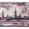 Münster, Acrylmalerei, Rathaus, Skyline