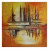 Acrylmalerei, Gelb orange, Stadt, Sommer