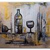 Malerei, Weingläser, Gold, Gemälde