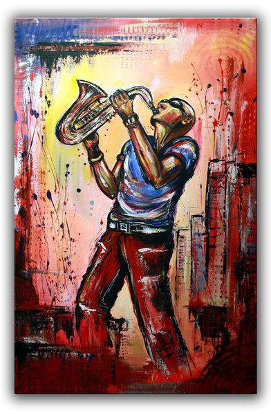 Gemälde, Menschen, Musiker, Rot, Acrylmalerei, Handgemal