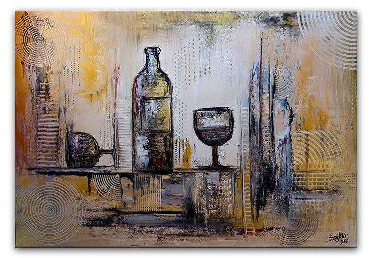 Weinflasche, Stillleben, Gemälde, Abstrakt, Acrylmalerei, Silber