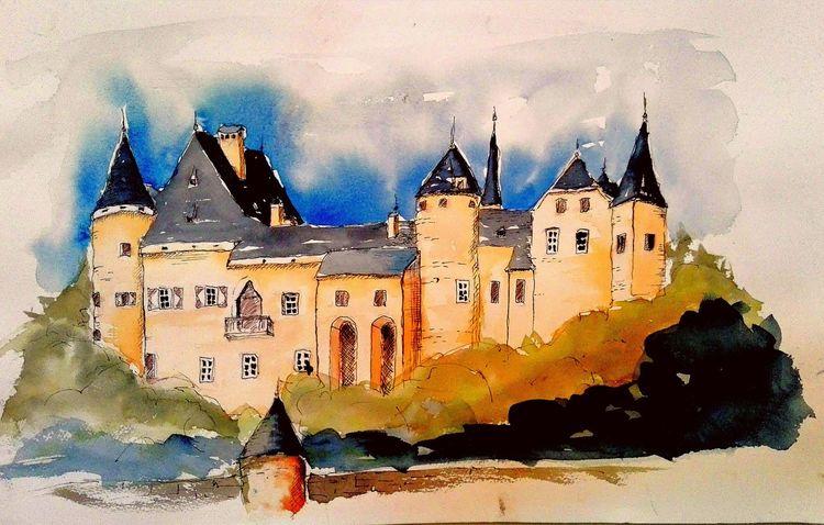 Architektur, Schloss, Landschaft, Blau, Himmel, Aquarellmalerei