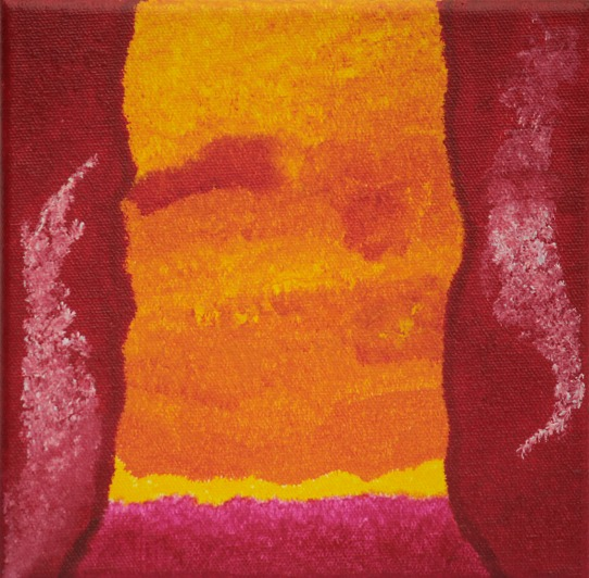 Gelb, Fantasie, Abstrakt rot, Acrylfarben, Malerei