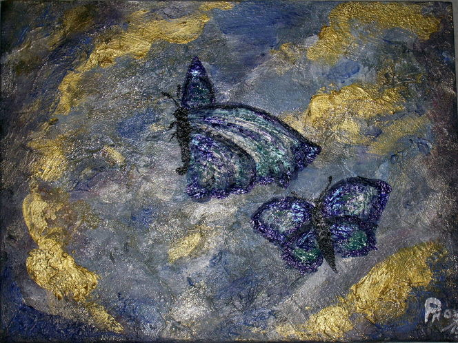 Himmel, Vanille, Schmetterling, Acrylmalerei, Malerei