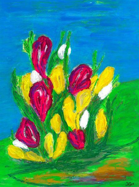 Frühlingsblumen, Wiese, Bunt, Malerei, Frühlingsboten