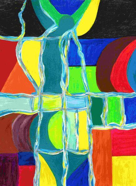 Figural, Gelb, Rot schwarz, Figur, Schwingen, Struktur