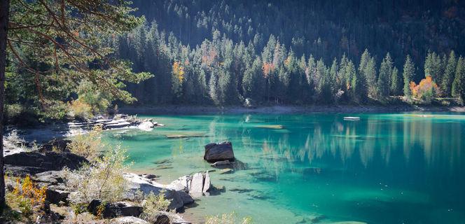 Wasser, Berge, Herbst, Alpen, Wald, Schweiz