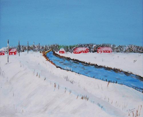 Landschaft, Acrylmalerei, Winter, Malerei, Winterlandschaft,