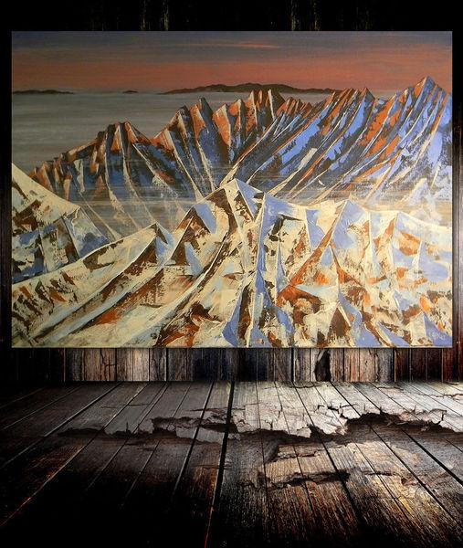 Gipfel, Berge, Abendrot, Dämmerung, Schnee, Malerei
