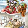 Karikatur, Zeichnung, Skilehrer, Illustrationen