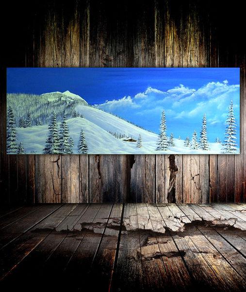 Winterlandschaft, Baum, Schnee, Berge, Malerei, Vollmond