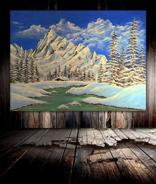 Fluss, Landschaft, Bach, Winter, Schnee, Berge