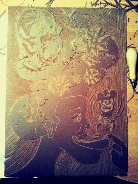 Abstrakt, Lustige bilder, Linolplatte, Malerei