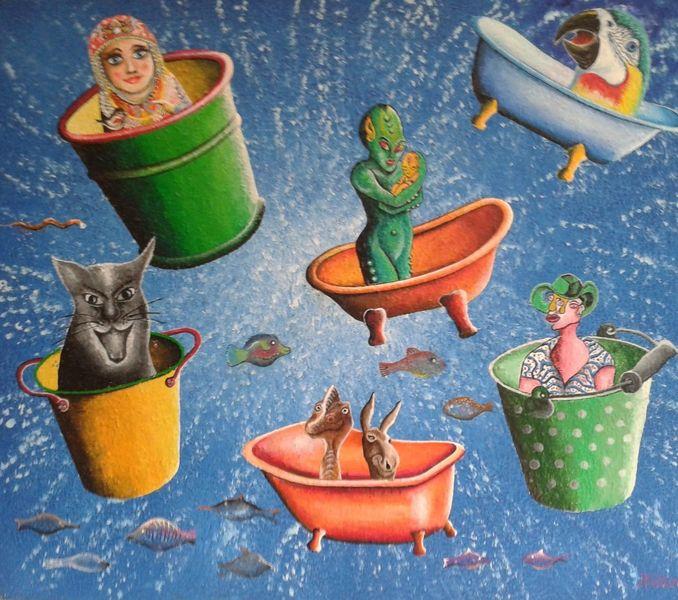 Acrylmalerei, Malerei, Modern art, Gemälde, Wasser, Kreis