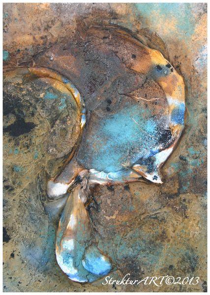 Marmormehl, Pigmente, Zeitgenössische kunst, Blau, Malerei, Ausschnitt
