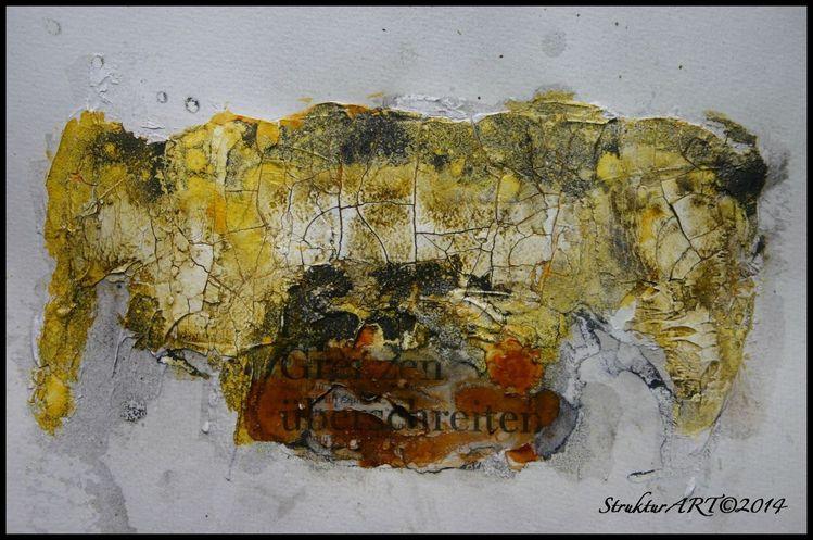 Zeitgenössische kunst, Struktur, Beize, Spiritus, Tusche, Schellack