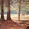 Licht, Wald, Hirsch, Malerei