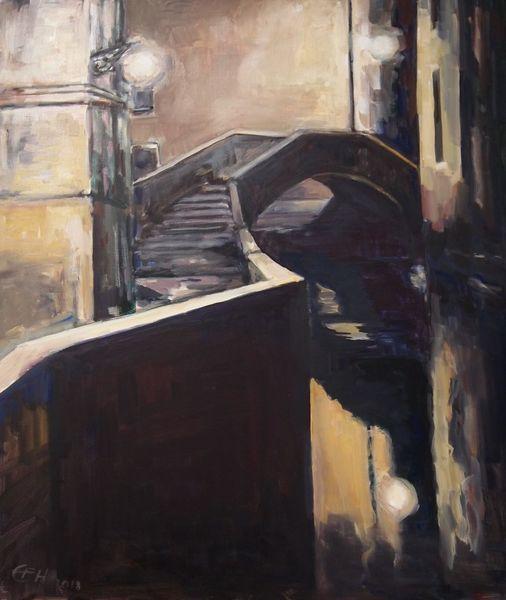 Spiegelung, Malerei, Venedig, Dunkel, Ölmalerei, Stadtlandschaft
