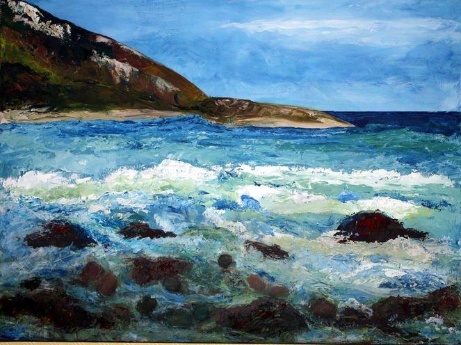 Atlantik, Acrylmalerei, Meer, Wellen brandung felsen, Malerei, 2013
