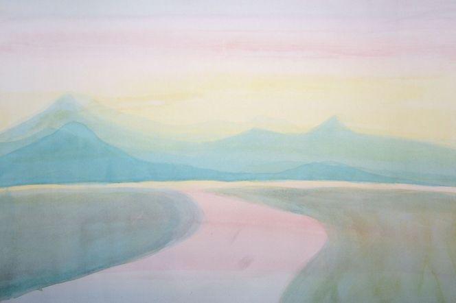 Berge, Fluss, Sonne, Natur, Frau, Zeichnungen