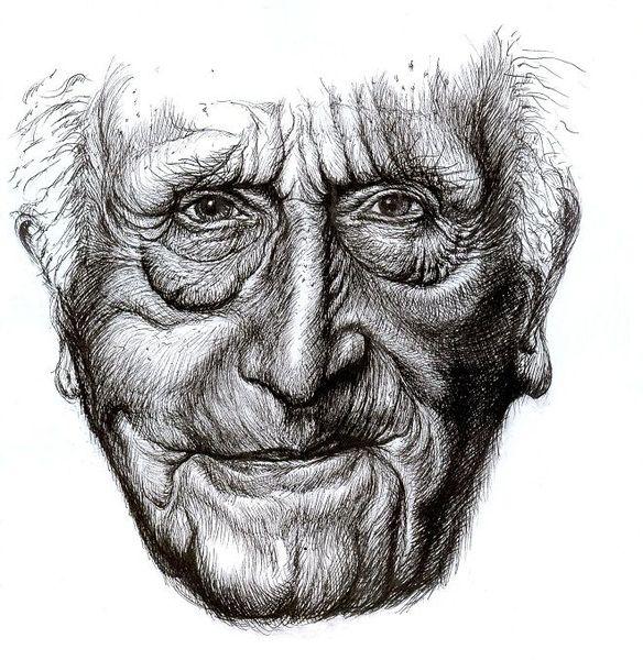 Alter man, Falten, Portrait, Alt, Gesicht, Zeichnungen