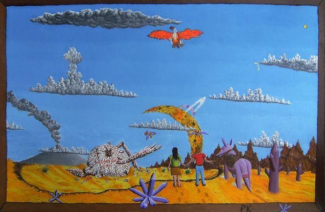 Acrylfarben, Wolken, Mann, Mond, Wüste, Großer roter vogel