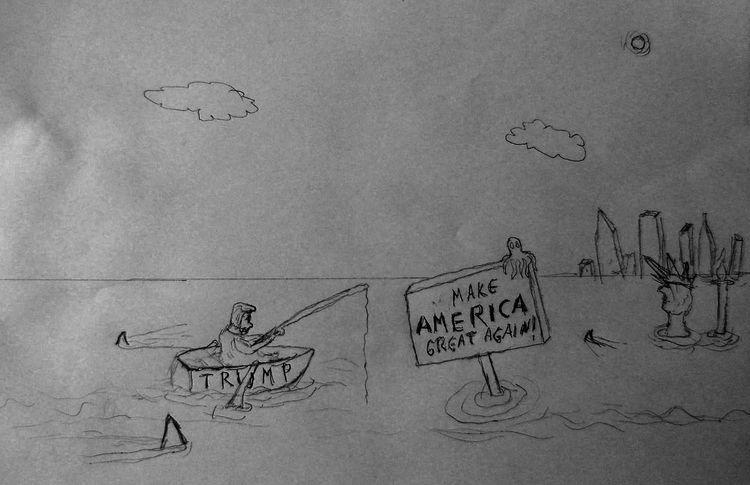 Zeichnung, Klima, Trump, Hochwasser, Ruderboot, Schild