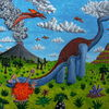 Vulkan, Flugsaurier, Acrylfarben, Dinosaurier