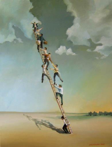 Bestreben, Kampf, Spitze, Hierarchie, Leiter, Himmel