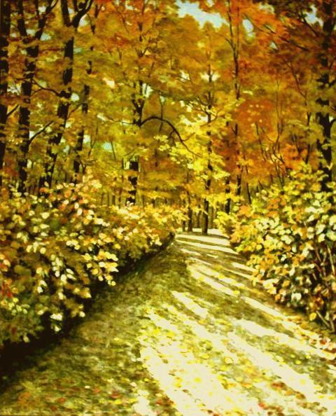 Pfälzer, Wald, Herbstlicht, Herbstsonne, Malerei