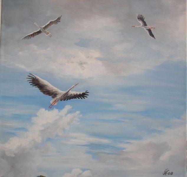 Storch, Kreisende, Tiere, Malerei