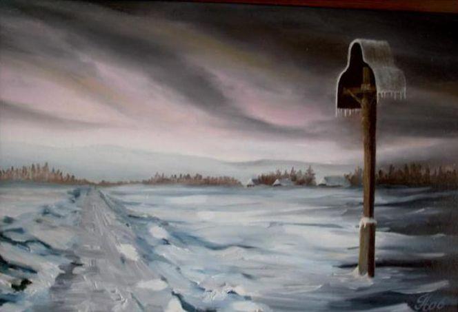 Letztes licht, Wegkreuz, Winter, Malerei, Licht