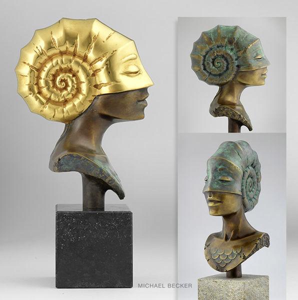 Bronze, Skulptur, Büste, Ammonit, Kopf, Muschel